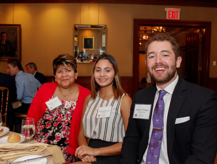 Paula Tabor '76, Priscilla Mercado '21, and Aaron Finder '17